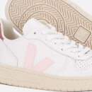 Veja Women's V-10 Leather Trainers - Extra White/Petal/Dried Petal