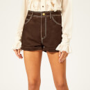 Philosophy di Lorenzo Serafini Women's Suede Shorts - Brown