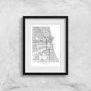 City Art Black and White Outlined Chicago Map Art Print