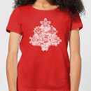 Marvel Shields Snowflakes Women's Christmas T-Shirt - Red