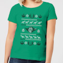 Star Wars Yoda Sabre Knit Women's Christmas T-Shirt - Kelly Green