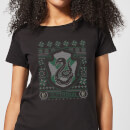Harry Potter Slytherin Crest Women's Christmas T-Shirt - Black