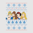 Disney Princess Faces Women's Christmas T-Shirt - Grey