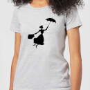 Mary Poppins Flying Silhouette Women's Christmas T-Shirt - Grey