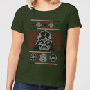 Star Wars Darth Vader Face Knit Women's Christmas T-Shirt - Forest Green