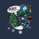 DC Superman Peace On Earth Women's Christmas T-Shirt - Navy