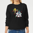 Star Wars Tangled Fairy Lights Droids Women's Christmas Sweatshirt - Black