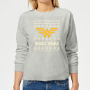 DC Wonder Woman Women's Christmas Sweatshirt - Grey