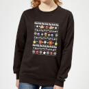 Muppets Pattern Women's Christmas Sweatshirt - Black