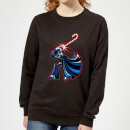 Star Wars Candy Cane Darth Vader Women's Christmas Sweatshirt - Black
