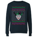 DC Joker Knit Women's Christmas Sweatshirt - Navy