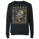 Harry Potter Hufflepuff Crest Women's Christmas Sweatshirt - Black