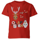 Frozen Olaf and Sven Kids' Christmas T-Shirt - Red