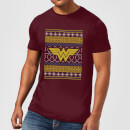 DC Wonder Woman Knit Men's Christmas T-Shirt - Burgundy