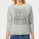 Nintendo Super Mario Retro Knit Women's Christmas Sweatshirt - Grey