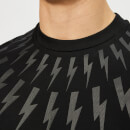 Neil Barrett Men's Kimono Fairisle Thunderbolt T-Shirt - Black/Black