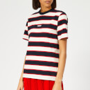 MSGM Women's Striped Logo T-Shirt - White