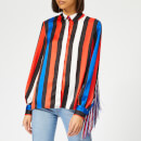 MSGM Women's Striped Tassel Shirt - Blue