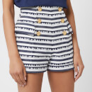 Balmain Women's High Waisted Shorts with Signature Stripe - Blue