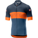 Castelli Prologo VI Jersey - Dark Steel Blue/Orange/Light Steel Blue - S