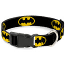 Buckle-Down DC Comics Batman Shield Plastic Clip Dog Collar (Various Sizes) - S/9-15 Inches