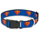 Buckle-Down DC Comics Superman Plastic Clip Dog Collar - Blue (Various Sizes) - L/9-15 Inches