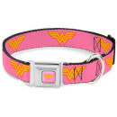 Buckle-Down DC Comics Wonder Woman Dog Collar - Pink (Various Sizes) - S/13-18 Inches