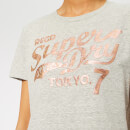 Superdry Women's Tokyo 7 Textured Foil Entry T-Shirt - Grey Heathered