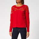 Superdry Women's Zariah Lace Panel Top - Nautical Red