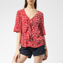 Superdry Women's Zoe Tie Top - Petra Paisley Red