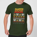Danger Mouse Pattern Knit Men's T-Shirt - Forest Green
