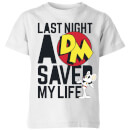 Danger Mouse Last Night A DM Saved My Life Kids' T-Shirt - White