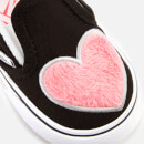 Vans Toddlers' Fur Heart Slip-On Trainers - Strawberry Pink/Black