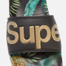 Superdry Women's Beach Slide Sandals - Black/Pineapple Aop