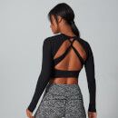 Power Open Back Crop Top - Cerný - XS