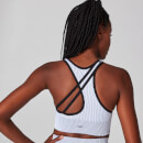 MP Contrast Rib Seamless Sports Bra - White/Black