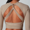 Power Open Back Crop Top - Brown - XS