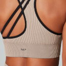 Contrast Seamless Sports Bra - Brown - XS