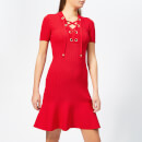MICHAEL MICHAEL KORS Women's Lace Up Short Sleeve Flare Rib Dress - Scarlet