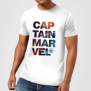 Captain Marvel Space Text Men's T-Shirt - White