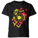 Captain Marvel Tartan Patch Kids' T-Shirt - Black