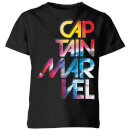 Captain Marvel Galactic Text Kids' T-Shirt - Black