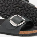 Birkenstock Women's Madrid Big Buckle Leather Slim Fit Double Strap Sandals - Black