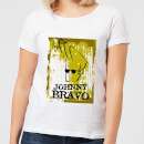 Johnny Bravo Distressed Women's T-Shirt - White