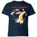 Cow and Chicken Characters Kids' T-Shirt - Navy