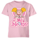 Dexters Lab Dee Dee I Love Unicorns Kids' T-Shirt - Baby Pink