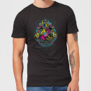 Harry Potter Hogwarts Neon Crest Men's T-Shirt - Black