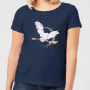 Harry Potter Hedwig Broom Women's T-Shirt - Navy