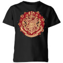 Harry Potter Hogwarts Christmas Crest Kids' T-Shirt - Black