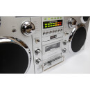 GPO Brooklyn Portable 1980s Retro Style Music System Boombox with CD, Cassette, DAB Radio & Bluetooth - Silver